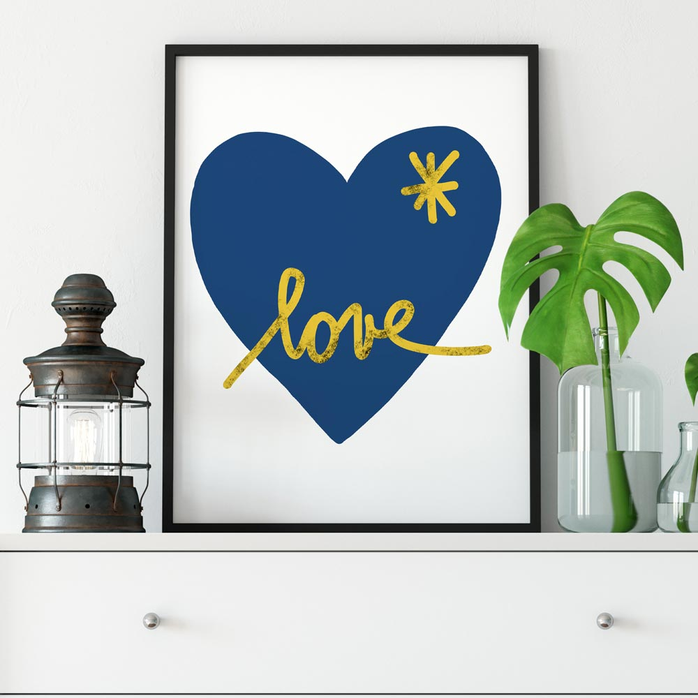 Blue heart abstract art in frame