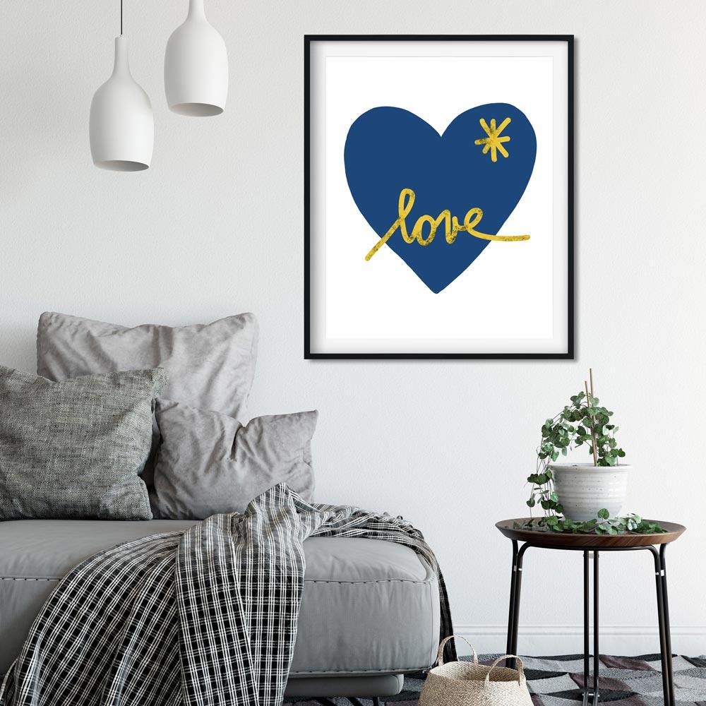 Blue heart wall art