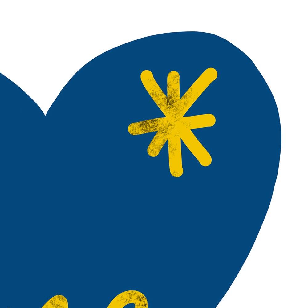 Blue heart art detail