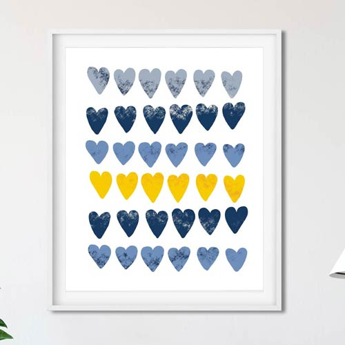 Cute hearts Scandinavian art