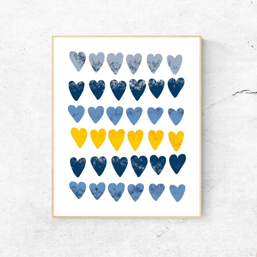 Cute hearts modern scandinavian wall art in frame