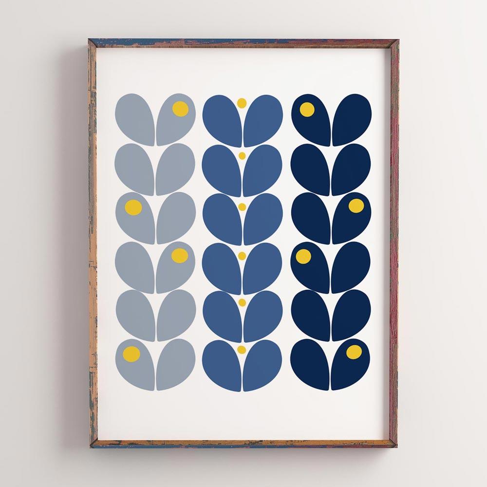 Scandinavian wall art gray blue