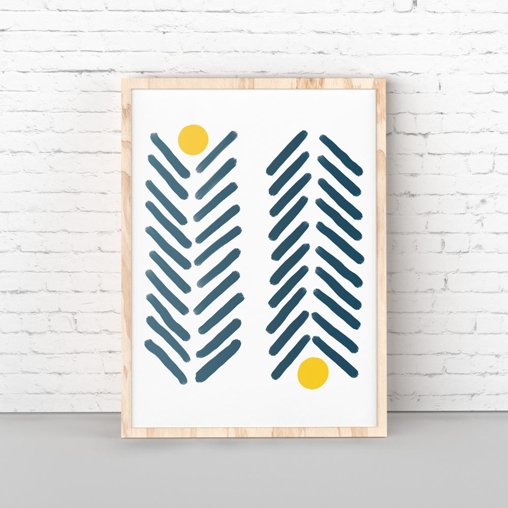 Navy blue and yellow scandinavian printable art