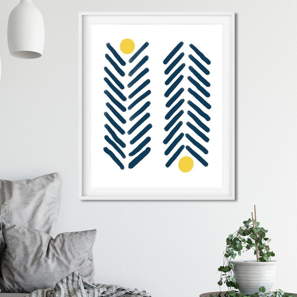 Navy blue and yellow scandinavian wall art in frame