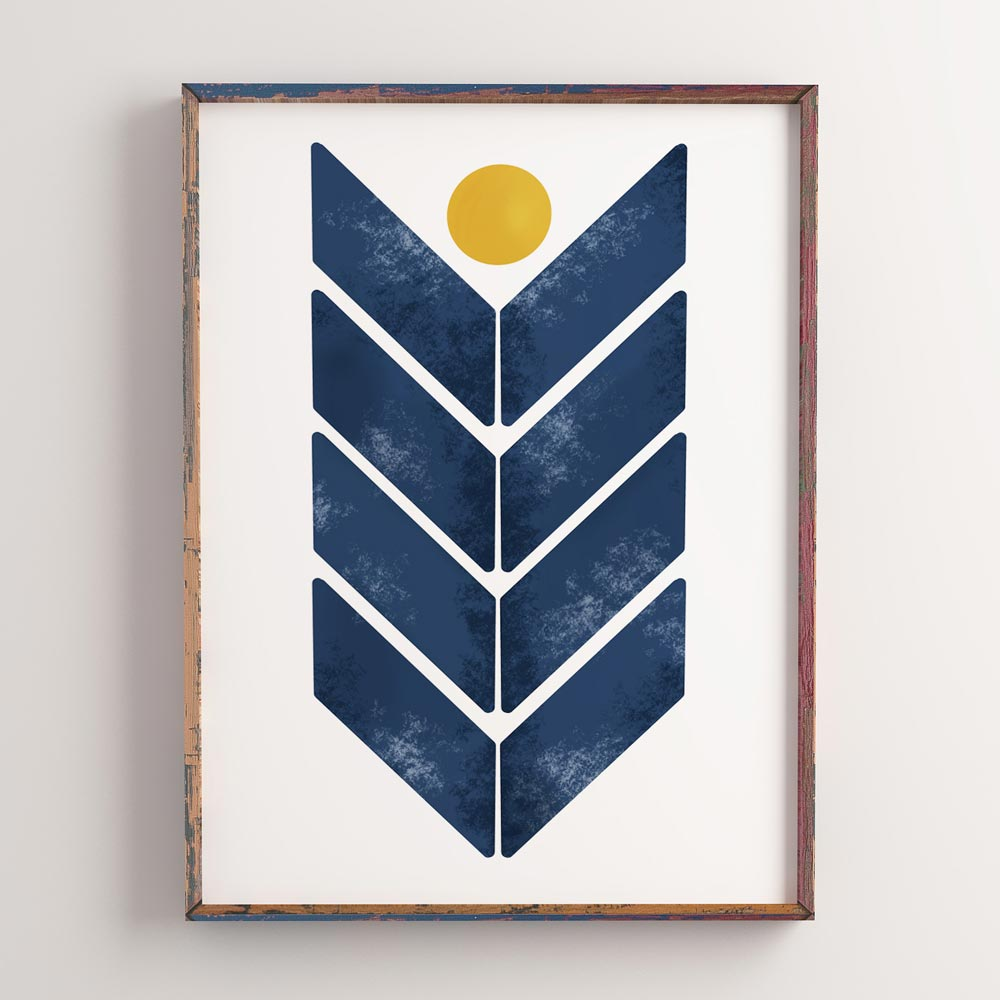 Blue arrow modern wall art