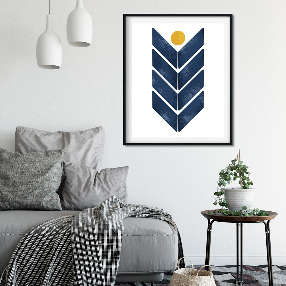 Blue arrow scandinavian wall art in frame