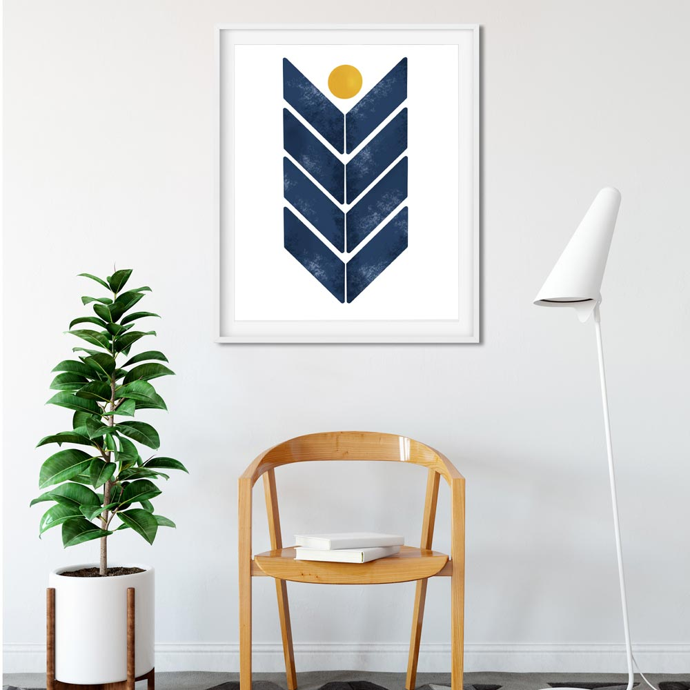Blue arrow scandinavian wall art