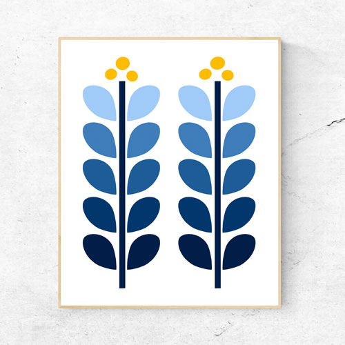 Scandi flowers wall art