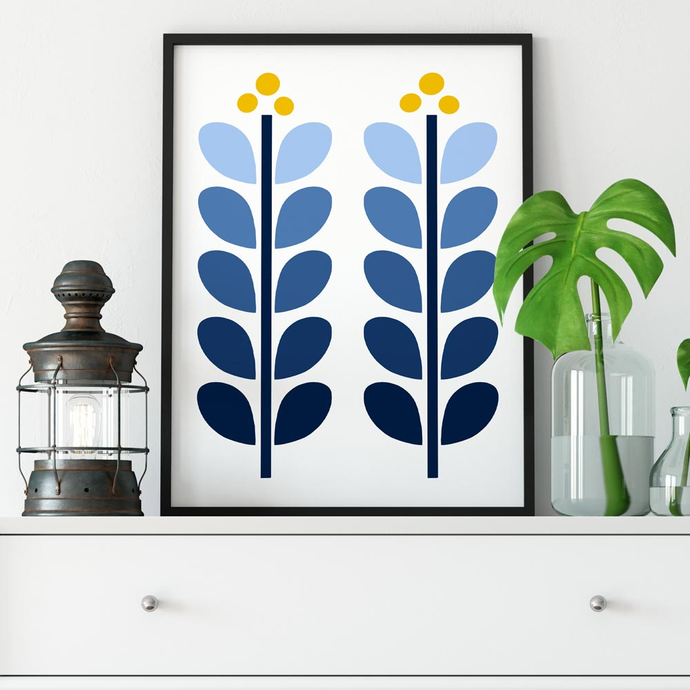 Retro sscandinavian illustration art in frame