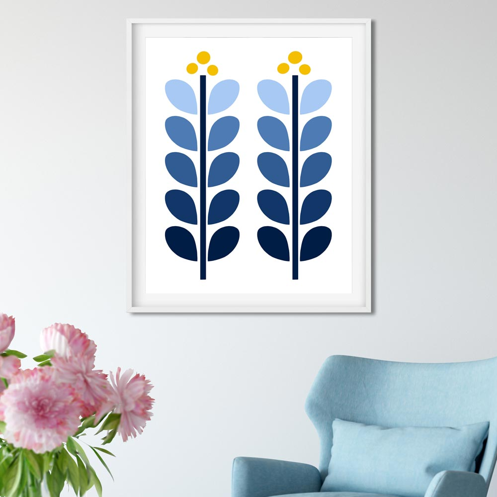 Scandinavian illustration wall art gray blue