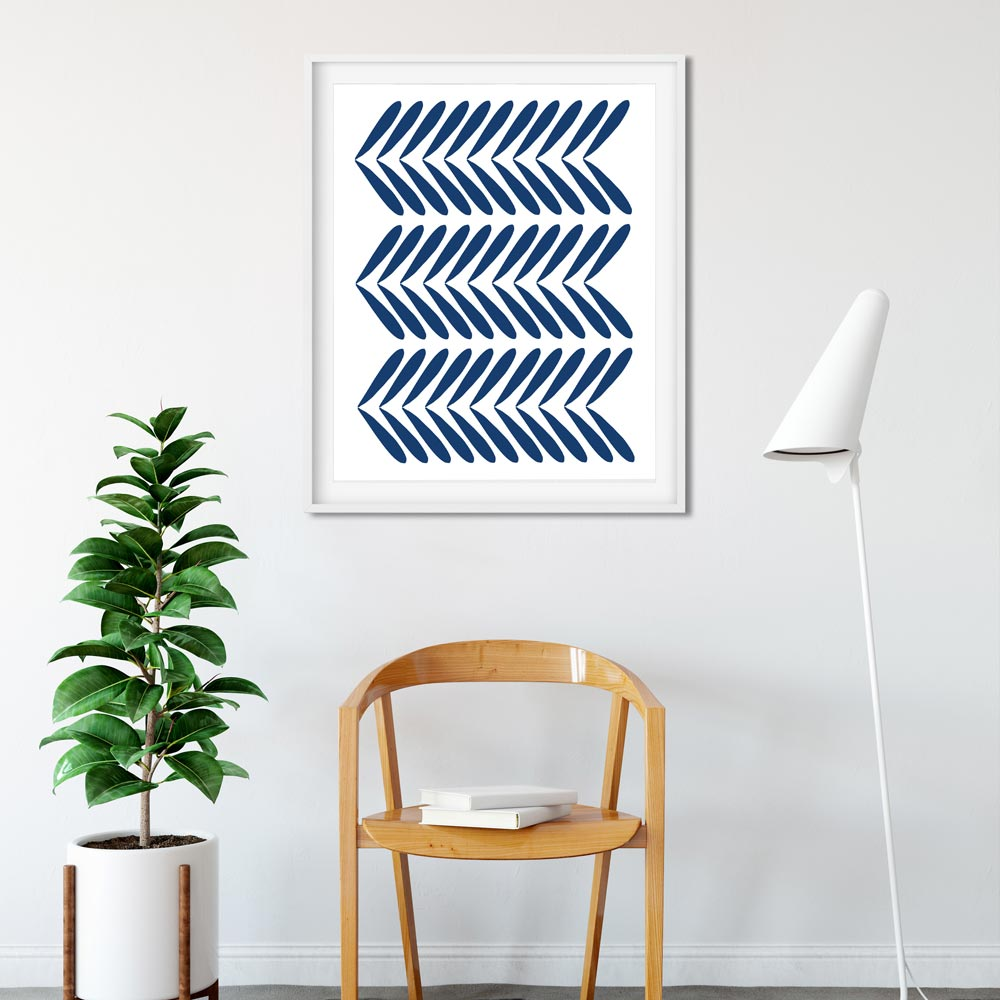 Indigo modern scandinavian wall art in frame