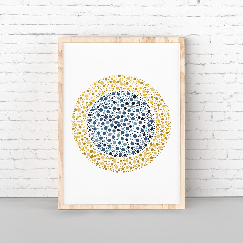 Golden circle art in frame