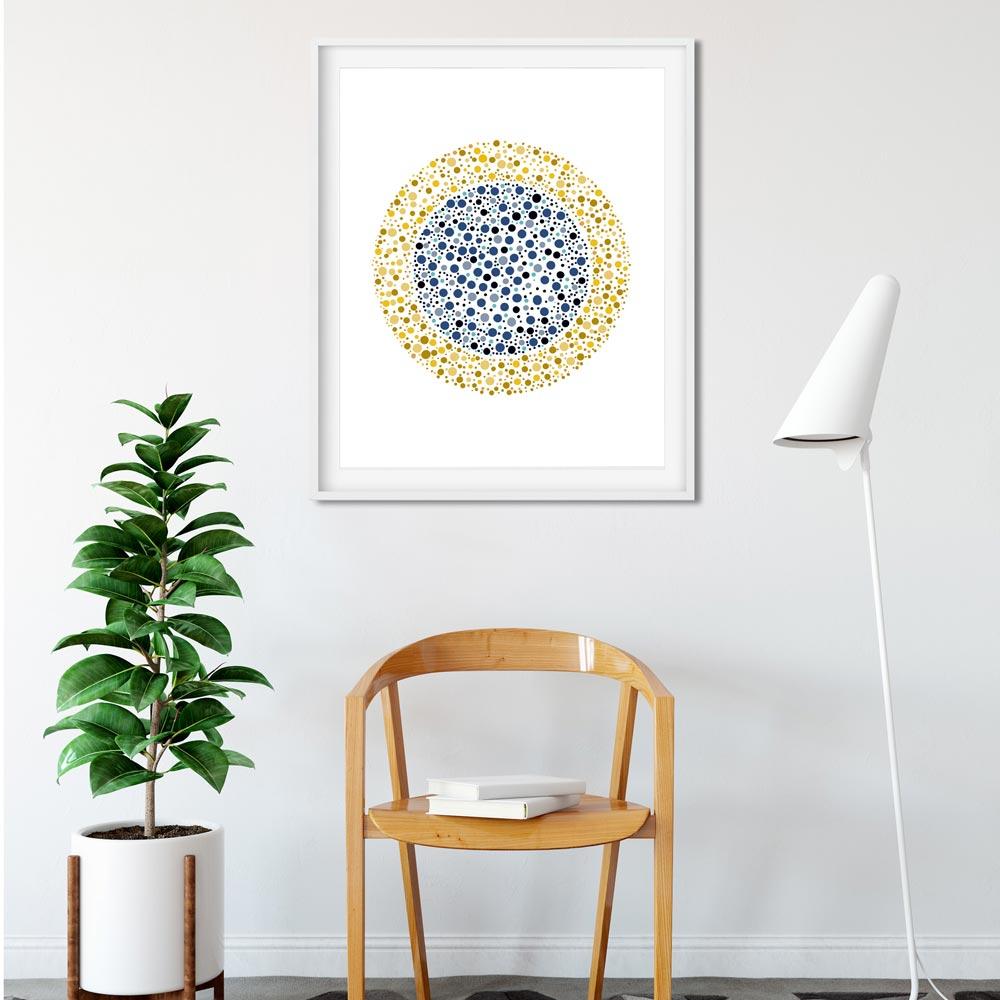 Golden circle wall art blue