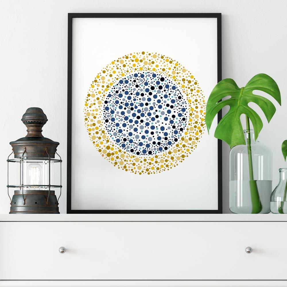 Dots mandala circle wall art blue and yellow