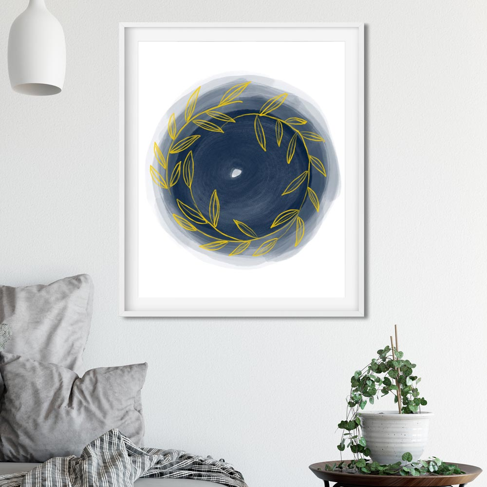 Scandinavian Round art in frame