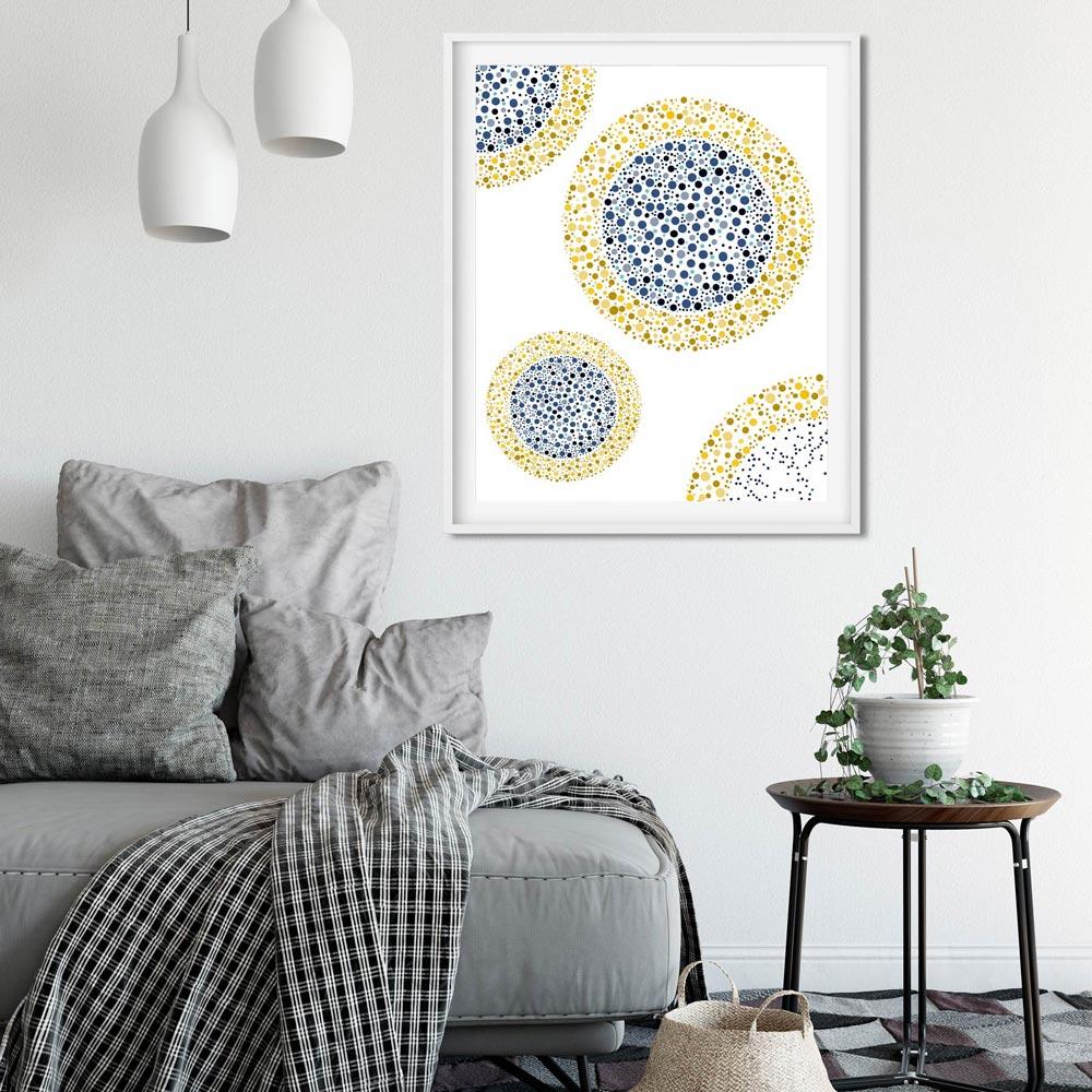 Geometric modern wall art in frame