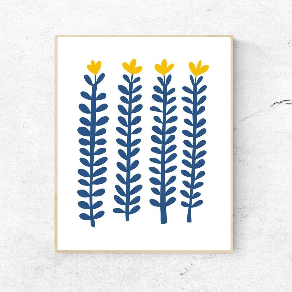 Scandi flowers printable art