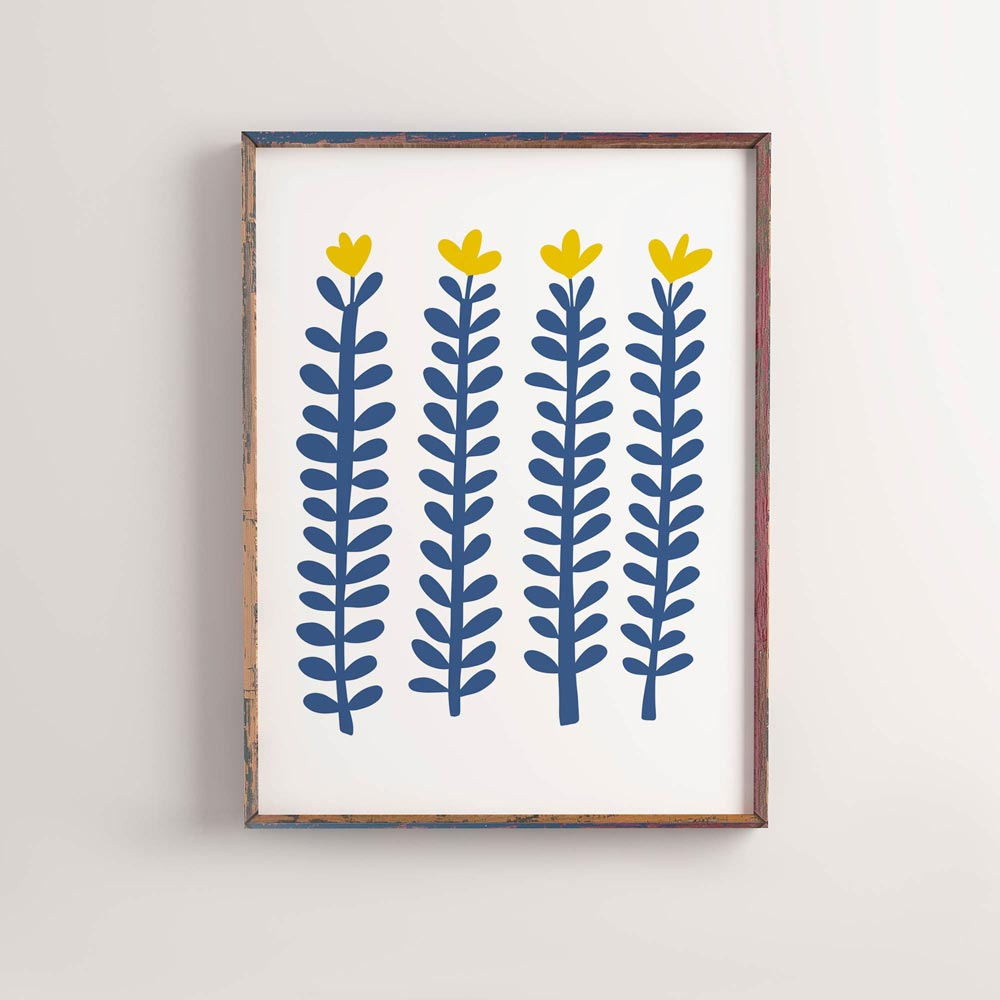 Botanical scandi art in frame