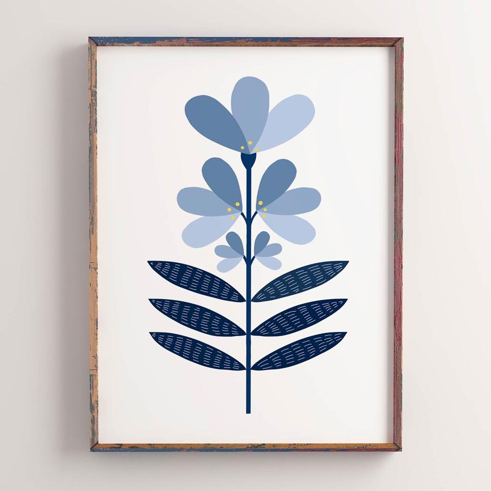 Blue flower Scandi modern wall art