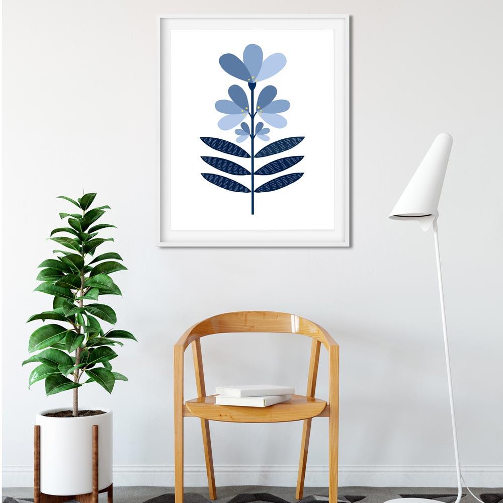 Blue flower Scandi wall art in frame