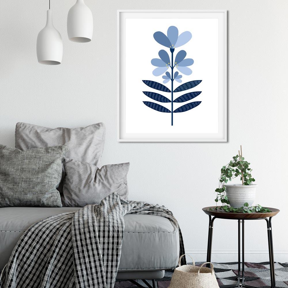 Blue flower Scandi wall art