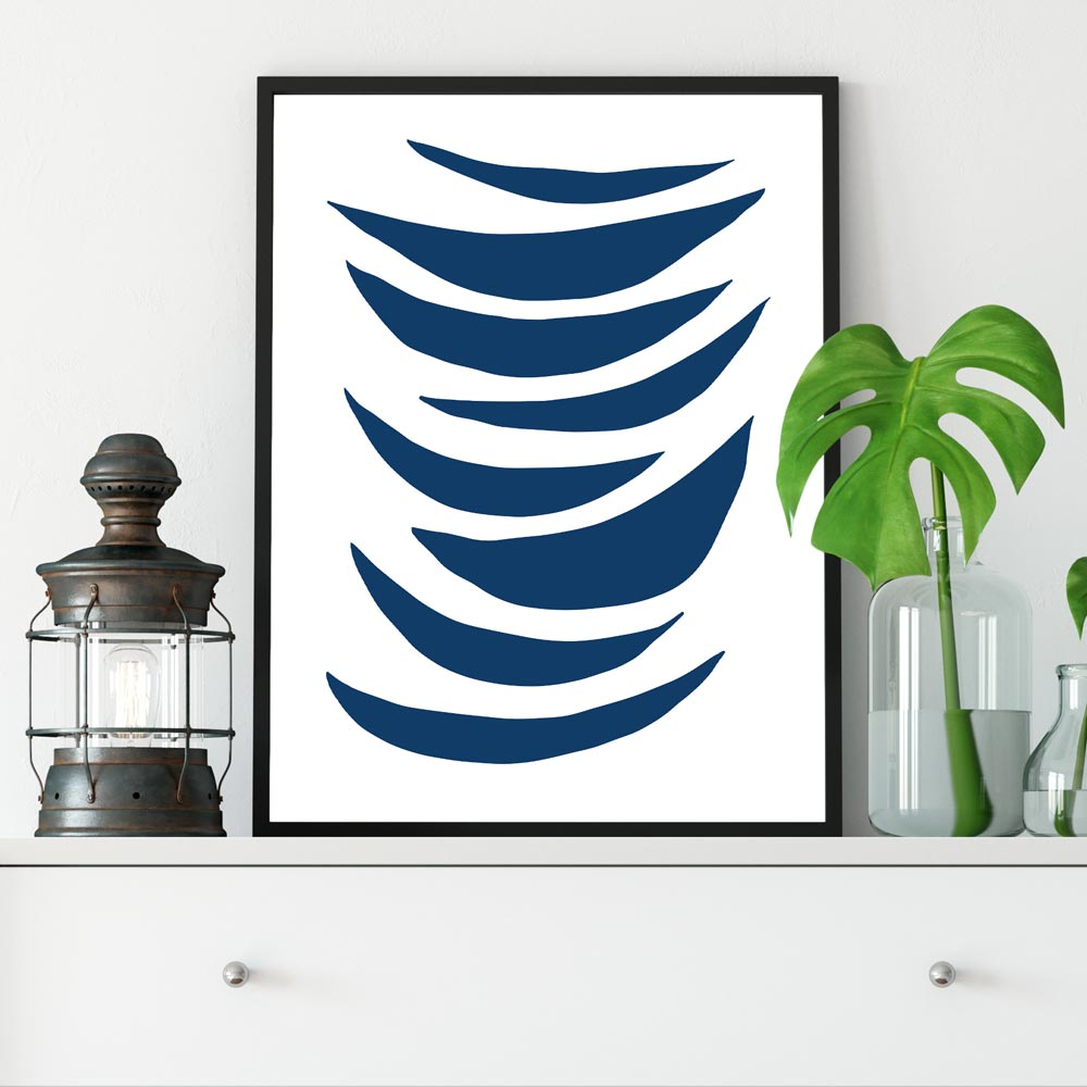 Half moons wall art gray blue