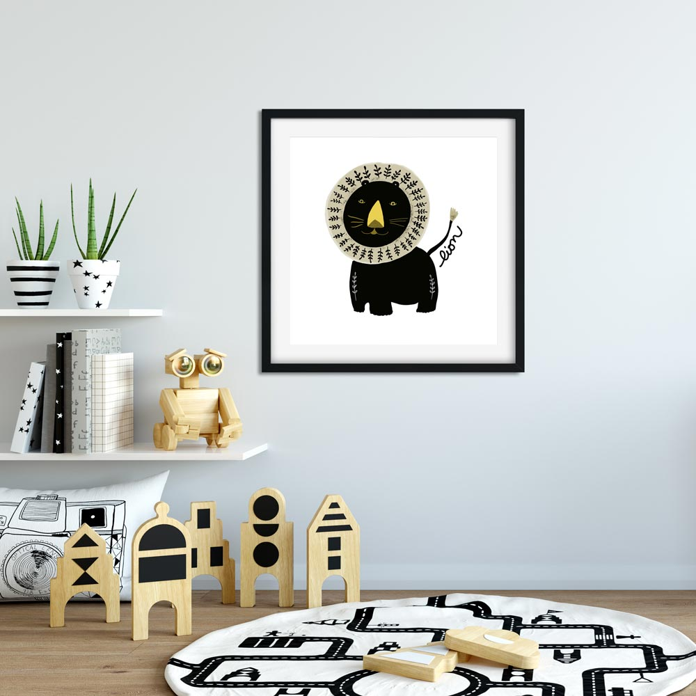 Black lion nursery printable wall art