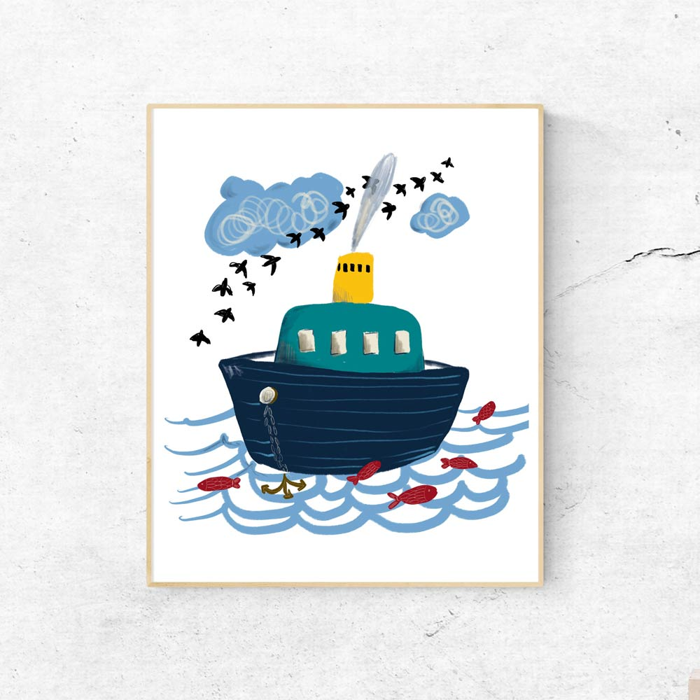 Little boat kids art wall in frame