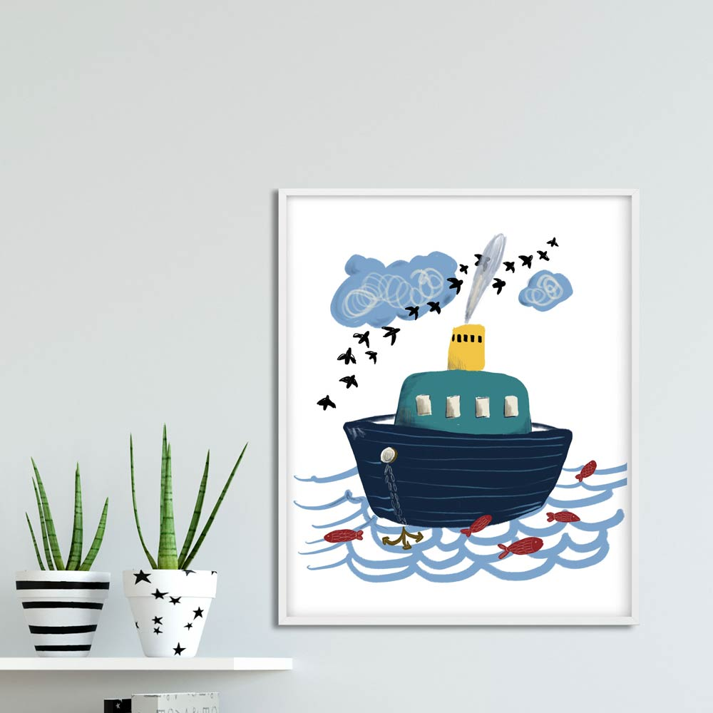 Little boat nautical kids wall art