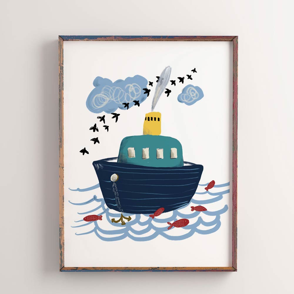 Little boat kids printable art