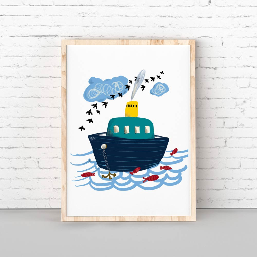 Little boat kids nursery art wall