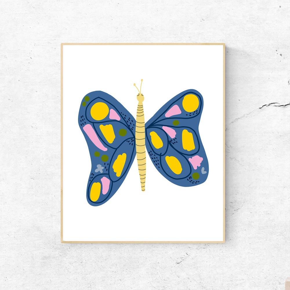 Butterfly kids wall art in frame