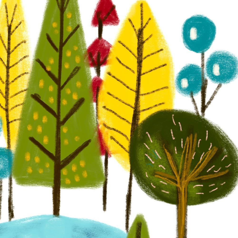 Woodland nursery wall art detail