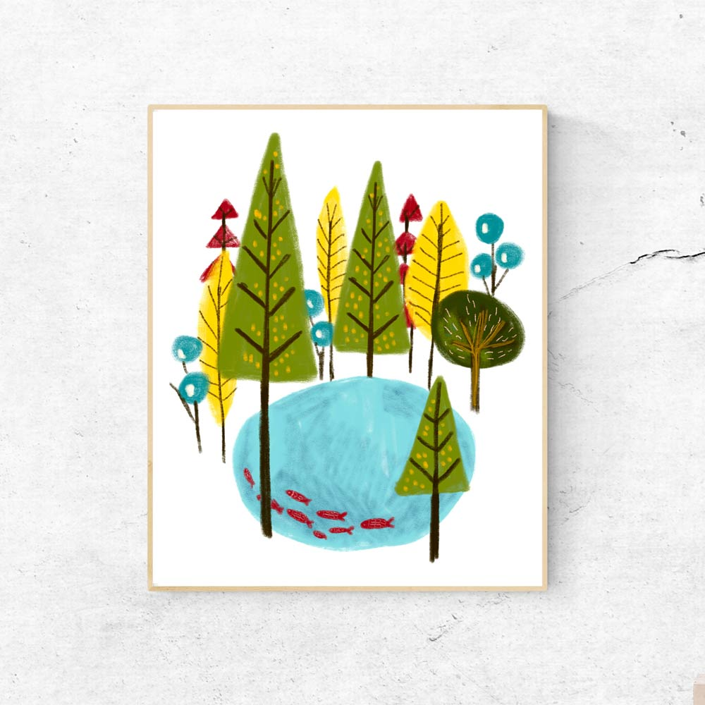 Forest kids wall art in frame