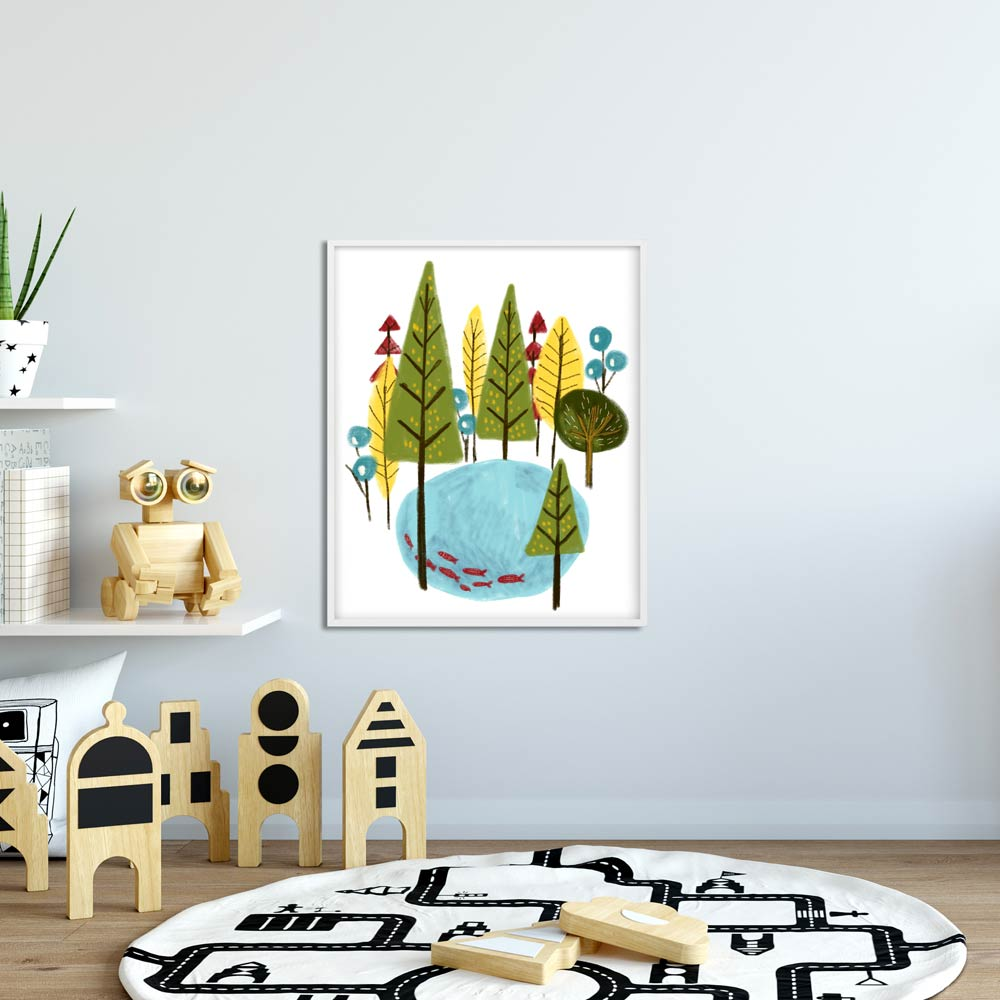 Forest nursery art in frame