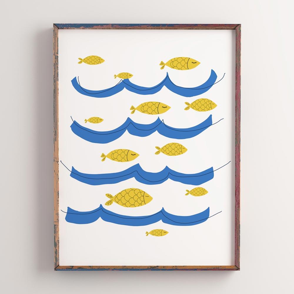 Ocean fish nursery art wall