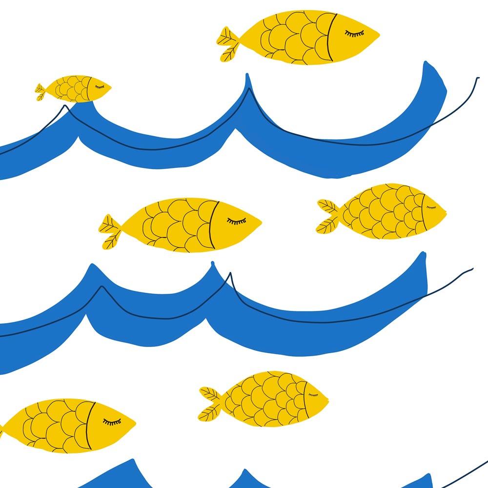 Ocean fish nursery printable art detail