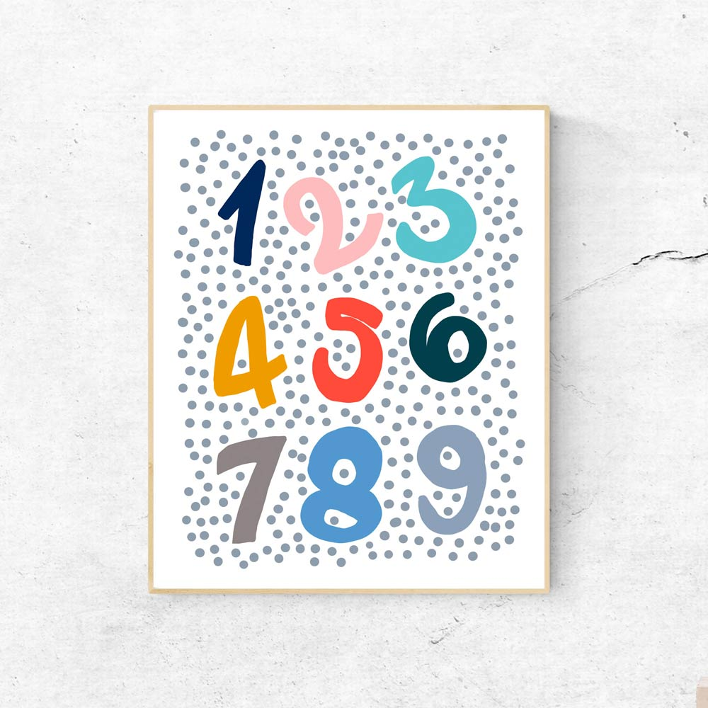 Colorful Numbers nursery wall art decor