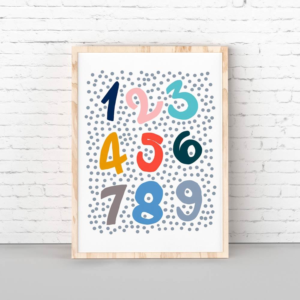 Numbers nursery printable wall art