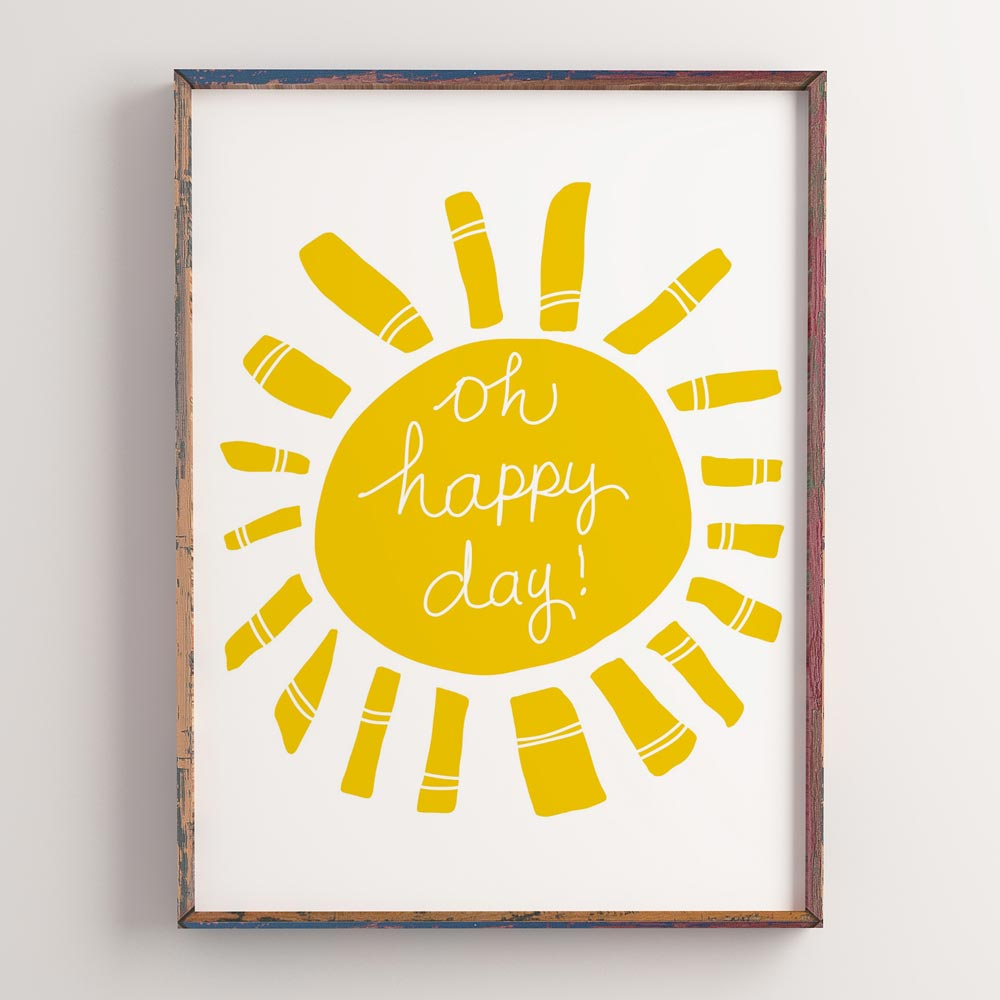 Oh happy day! Kids wall art in frame