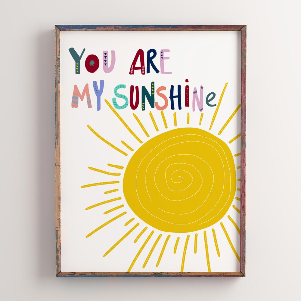 You are my sunshine kids printable wall art