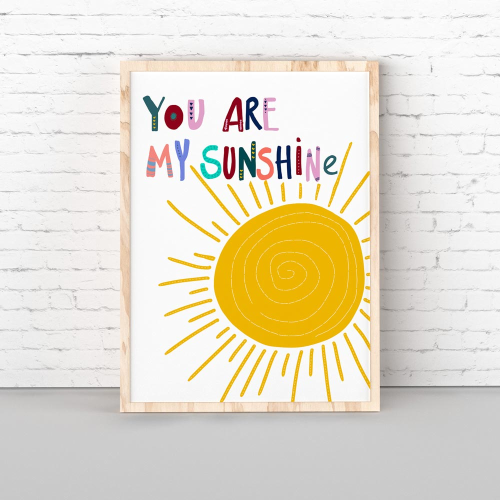 You are my sunshine kids wall art in frame