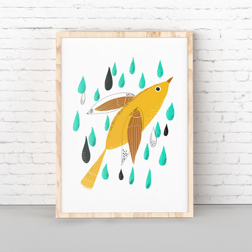 Yellow bird wall art