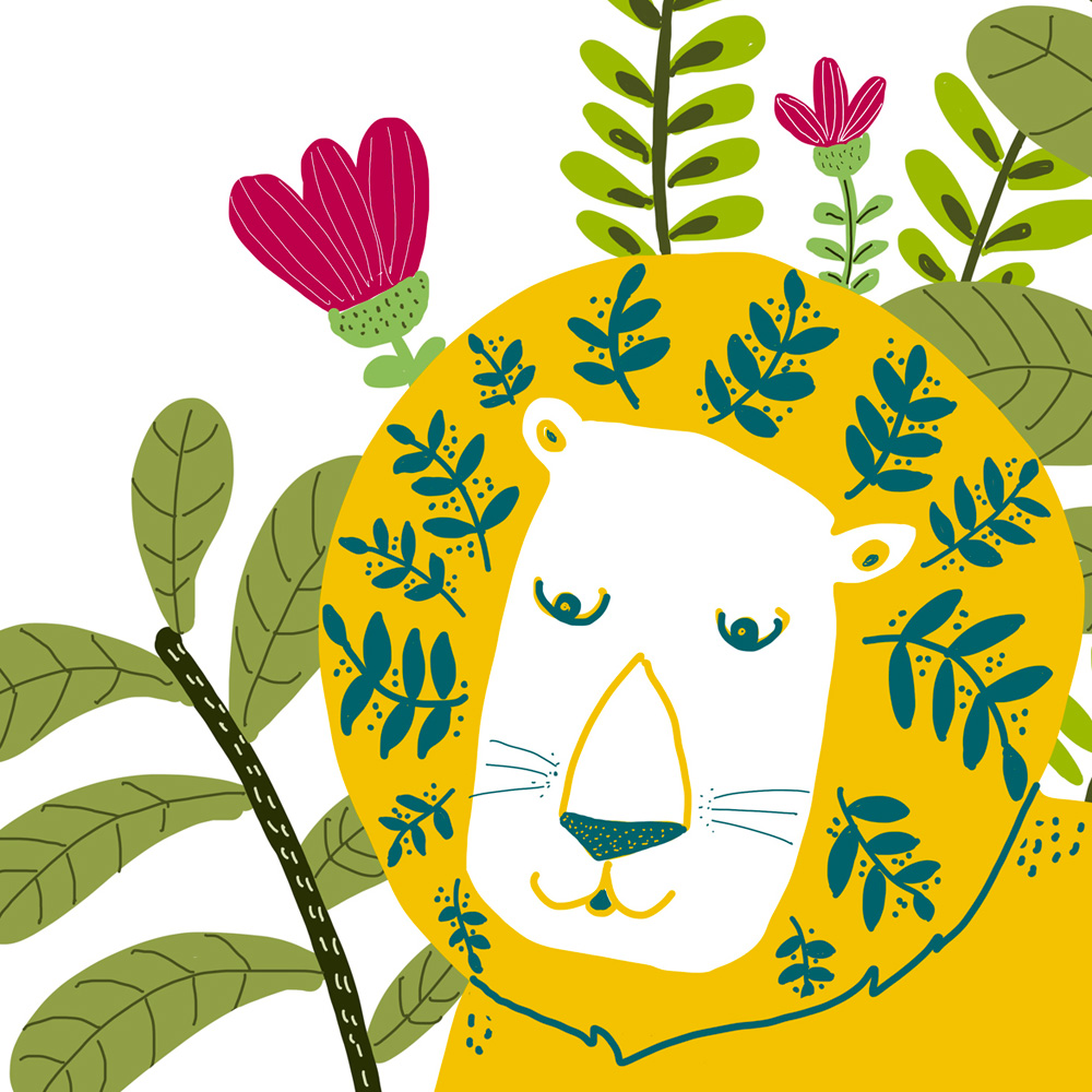 Yellow Lion wall art for kids