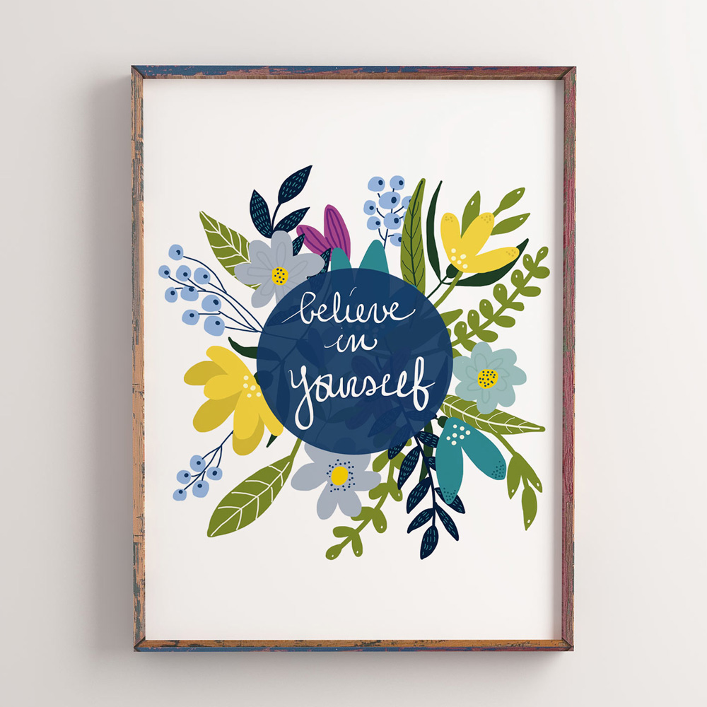Believe in yourself quote wall art in frame