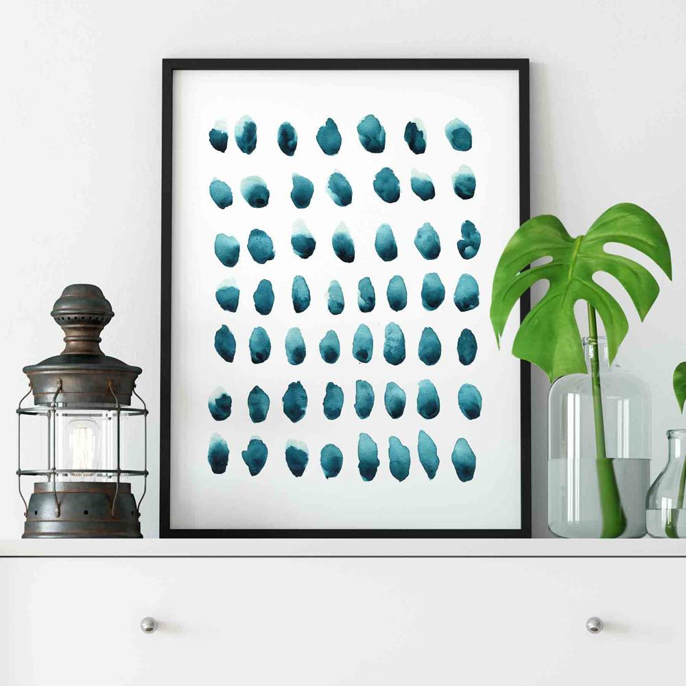 Navy Blue Dots Abstract watercolor wall art