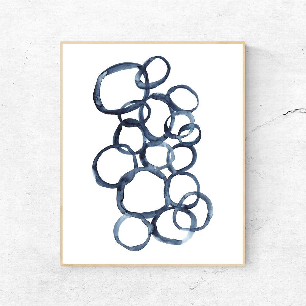 Blue rounds wall art decor
