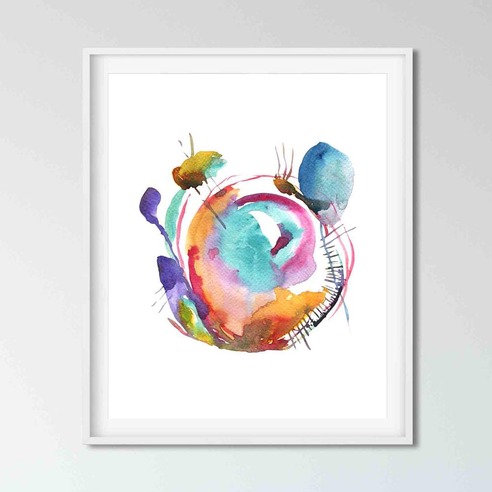 Watercolor abstract wall art decor