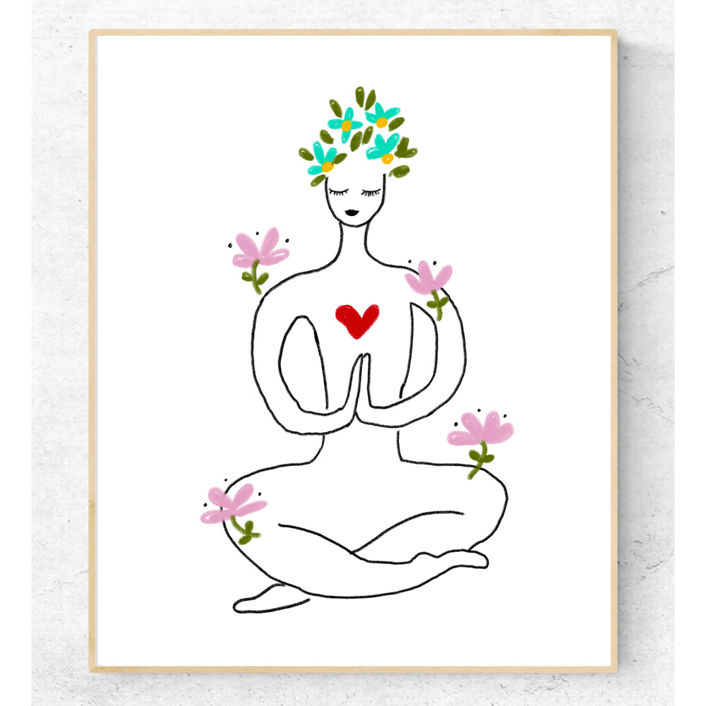 Printable yoga art in frame
