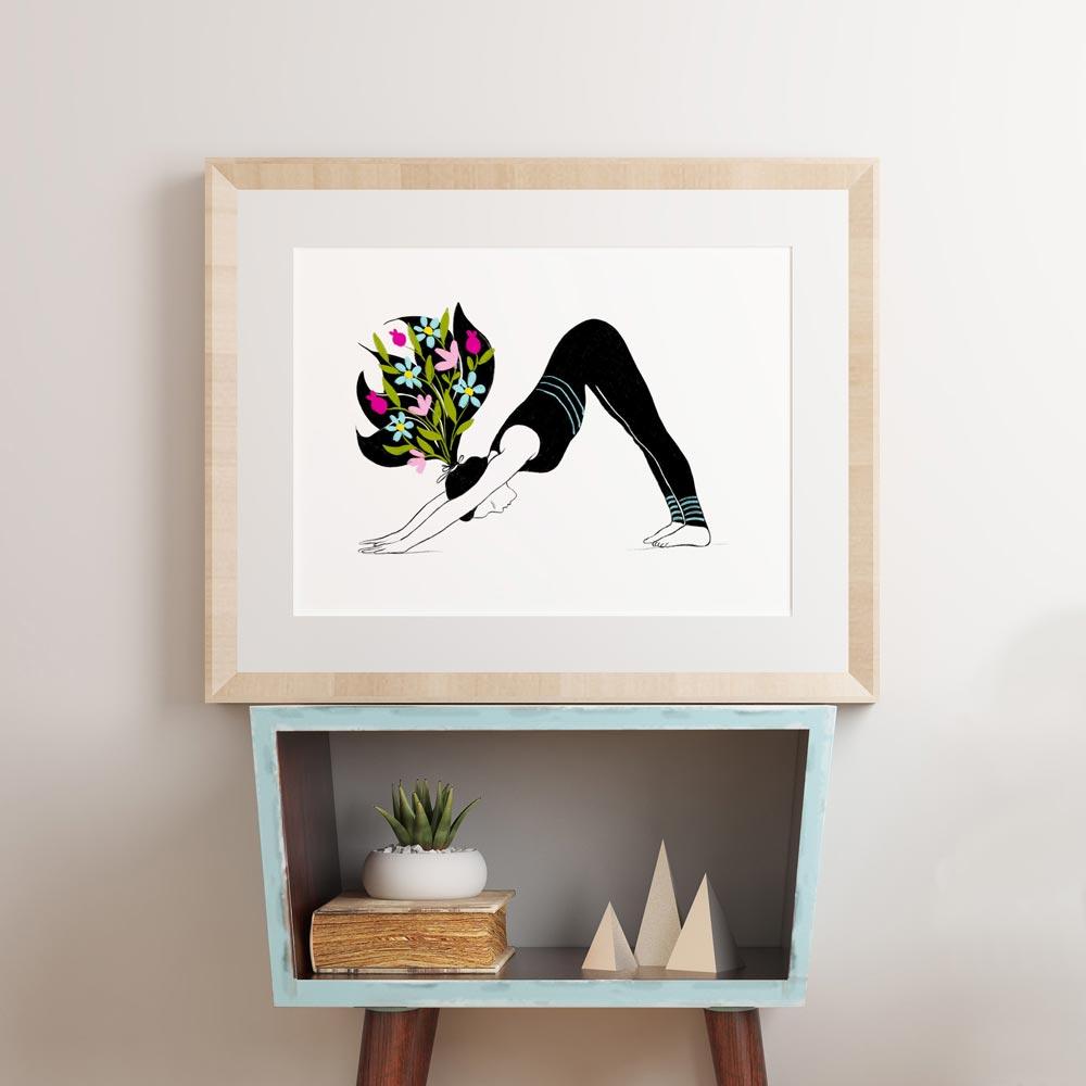 Yoga asana poster wall art in frame